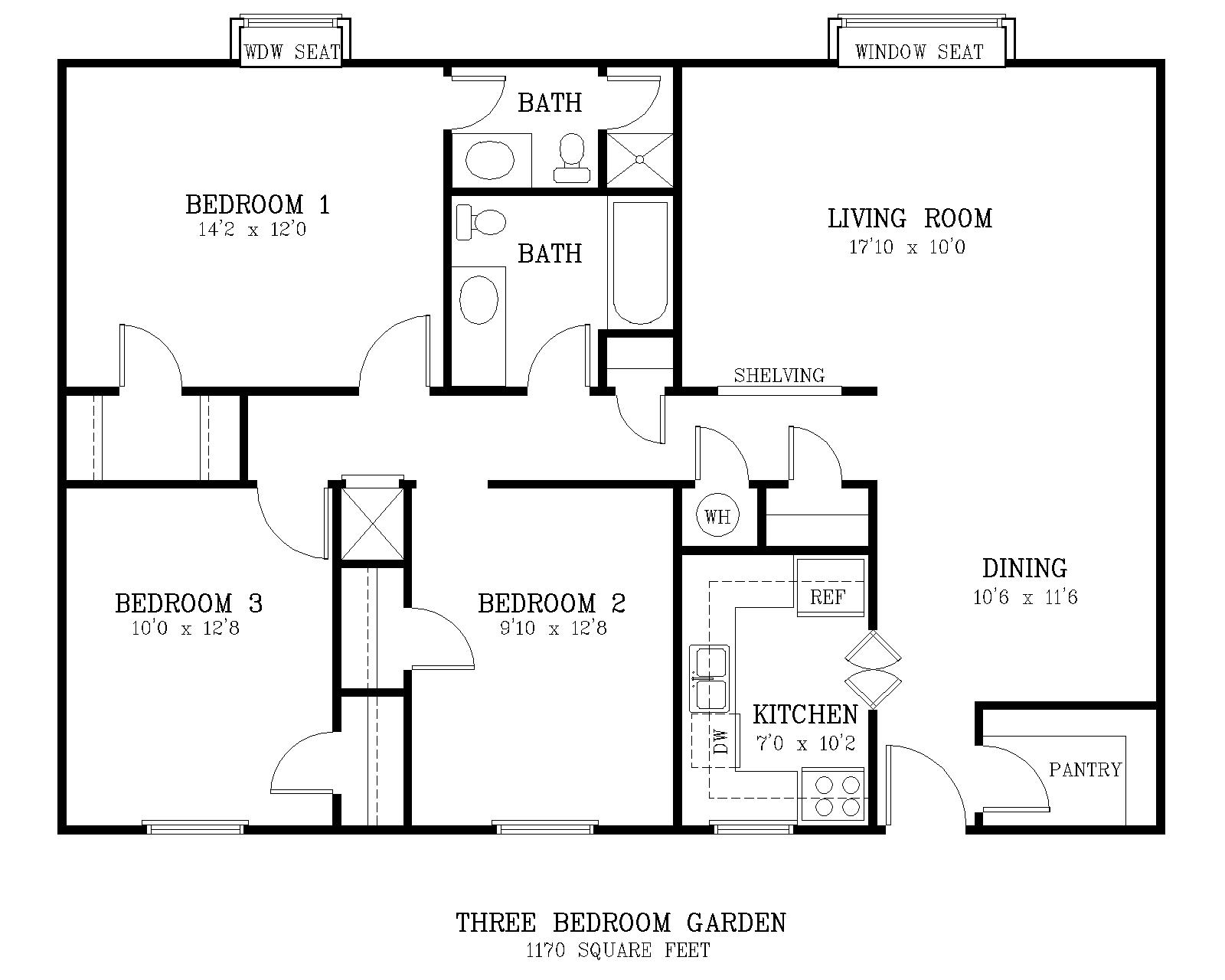 The courtyard for Standard 3 bedroom house plans