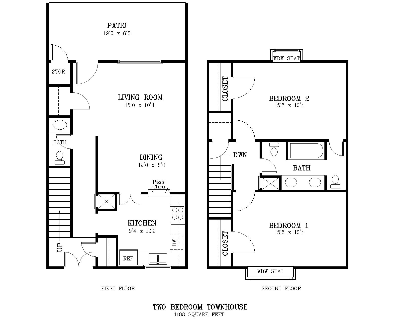 The courtyard two bedroom townhome for Small townhouse floor plans