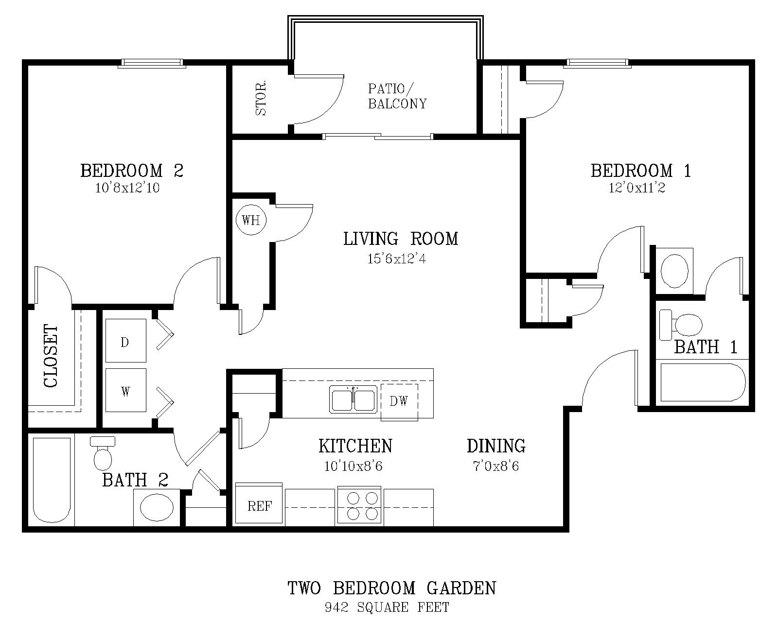 Salisbury square two bedroom apartment for Simple two bedroom apartment design