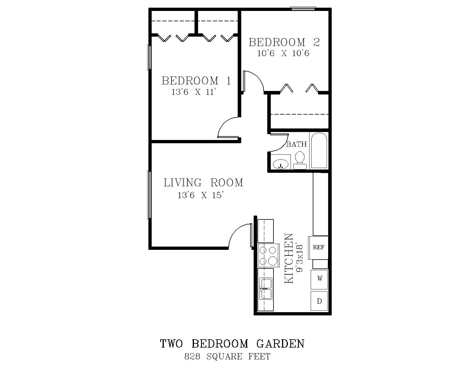 View The Small Two Bedroom Floorplan